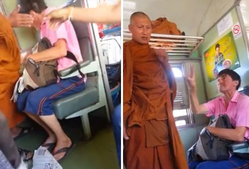Мужчина получил пощечину от тайского монаха в поезде